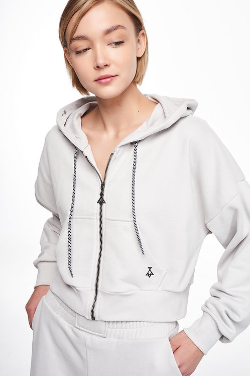PCOC CROPPED ZIPPED HOODIE IN WHITE