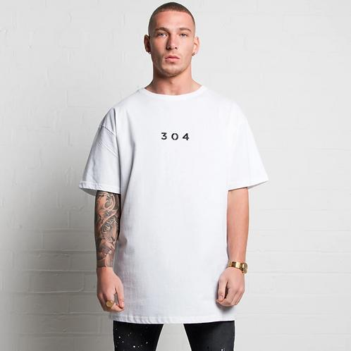 304 OVERSIZED LOGO T-SHIRT IN WHITE