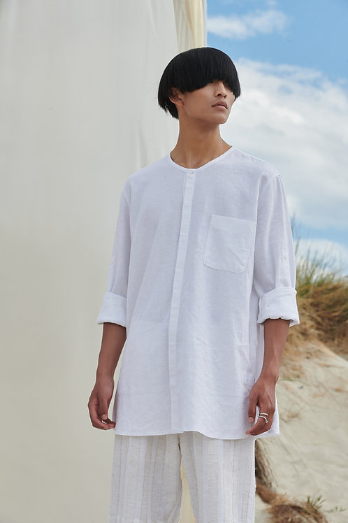 P/COC  LINEN  SHIRT  IN WHITE