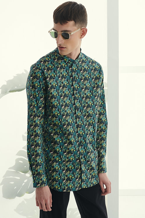 P/COC FLORAL PRINT SHIRT IN GREEN