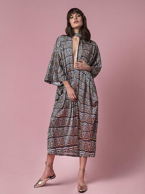INNA MANOLI CAFTAN DRESS IN AZTEC PRINT