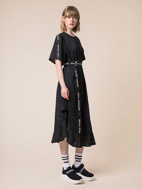 INNS MANOLI FRILL DRESS IN BLACK