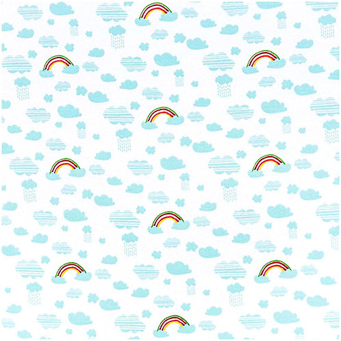 Jerseystoffe Abschnitt Regenbogen Blau von Rico Design 70x100cm