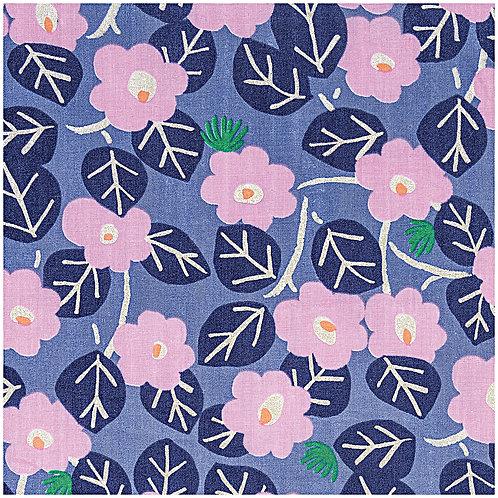 Musselin Aloha Blumen  Blau mit Hot Foil von Rico Design 140cm