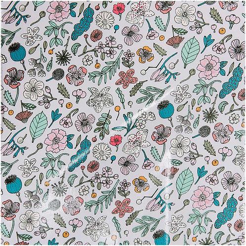 Beschichtete Baumwollstoffe Hygge Blumen Flieder-Weiß von Rico Design 25 x 70cm