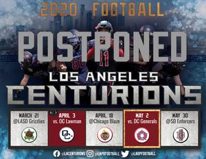 Centurions' 2020 Season Postponed