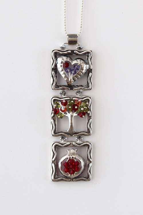 Sterling Silver  Heart Tree Pomegranate