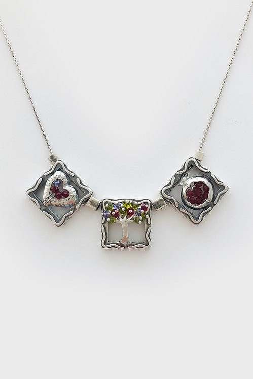 Sterling Silver Squares Necklace Heart Tree Pom.