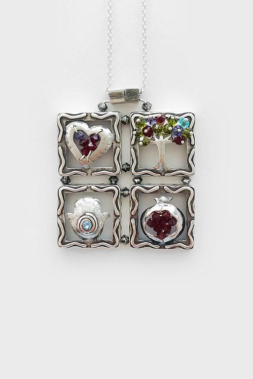 Sterling Silver  Heart Tree Hamsa Pomegranate
