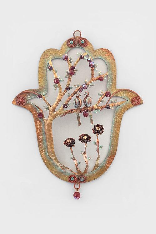 Copper hamsa Tree Of life Hand Handmade by Ahuva Elany