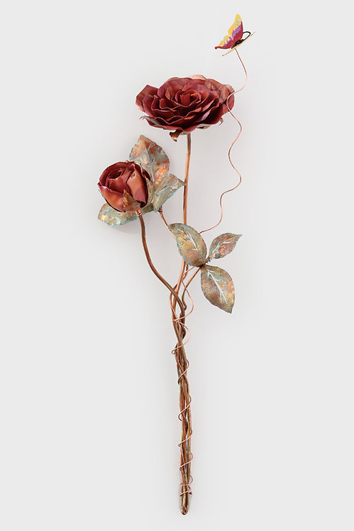 2 Rose one large one small  hande made from copper in rad by the Israeli Artist Ahuva Elany  as online store.