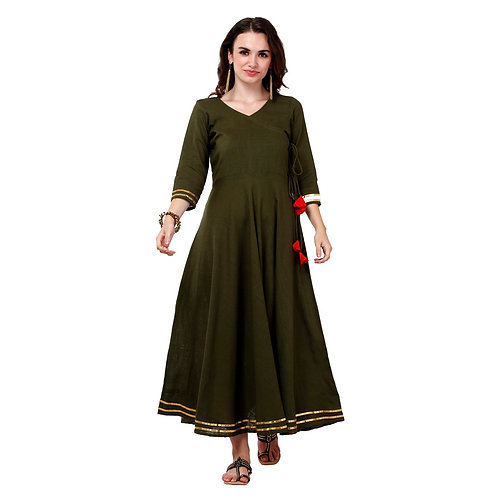 Vgang Women Cotton Slub Olive Green Anarkali Kurta