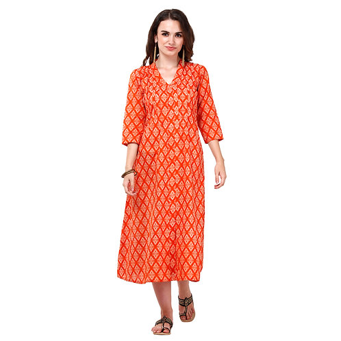 Vgang Women Orange A-Line Kurta