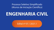 Coordenação de Engenharia Civil disponibiliza Edital de Processo Seletivo para Estágio