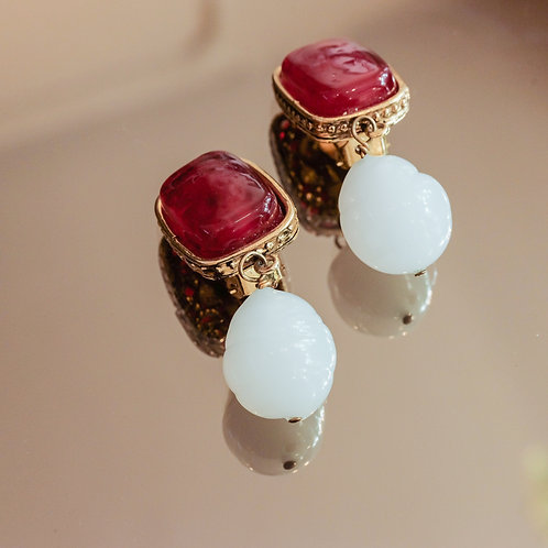 Chanel Drop Earrings (Red/White/Gold)