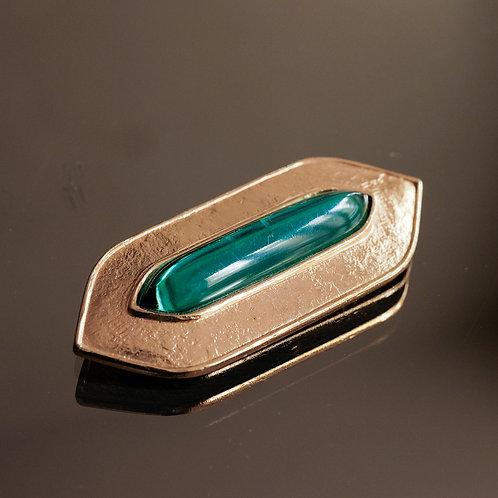 Jean-Louis Scherrer Brooch (Gold/Glass)