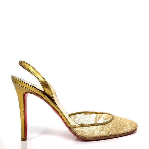Christian Louboutin Gold Slingbacks (Size 37 FR)