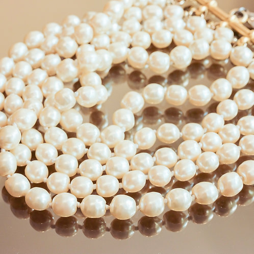 Karl Lagerfeld Multi-Strand Pearl Necklace (White)