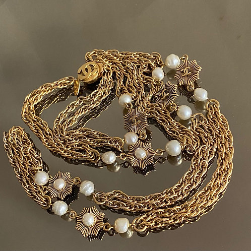 Chanel Pearl and Gold Pleated Necklace