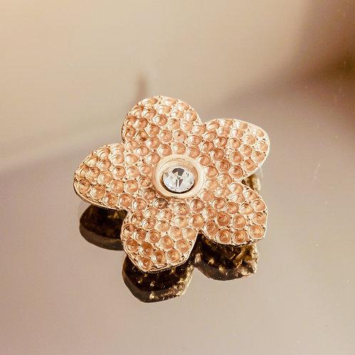 Yves Saint Laurent Crystal Flower Brooch (Gold)