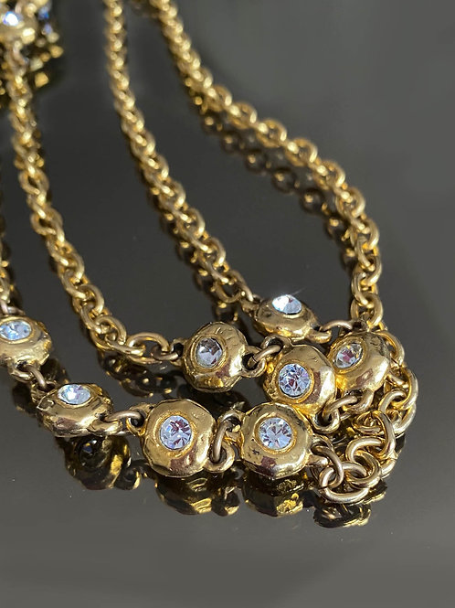 Chanel Gold Pleated Necklace with Crystals