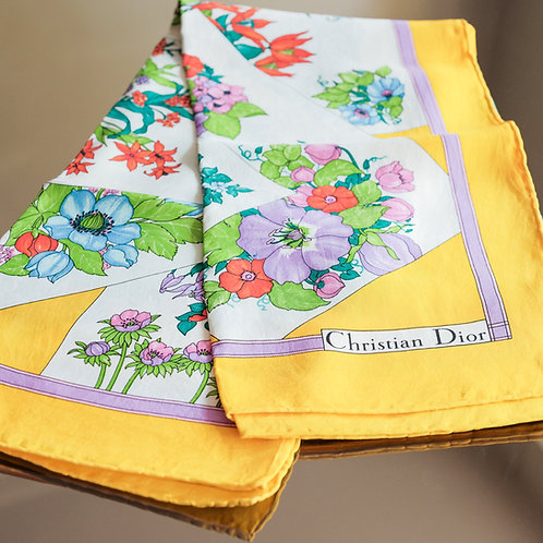 Christian Dior Yellow Flowered Scarf