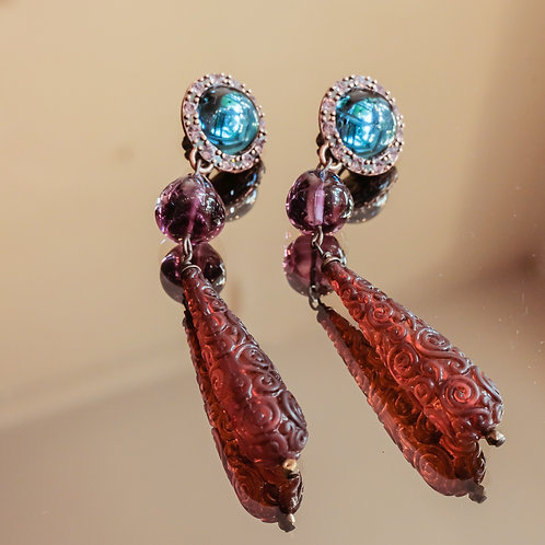 Crystal Earrings (Aqua/Amethyst/Topaz)