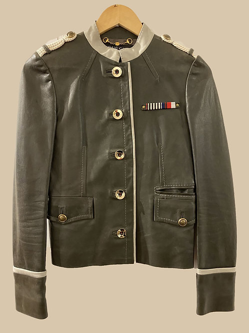 Gucci Leather Military Jacket