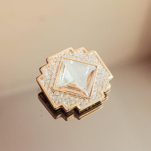 Jean-Louis Scherrer Art Deco Brooch (Crystal/Gold)
