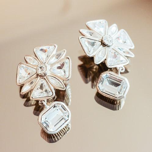 Yves Saint Laurent Crystal Flower Earrings (Crystal/Silver)