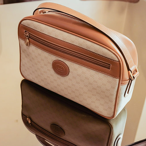 Gucci Monogram Crossbody Bag (Camel/White)