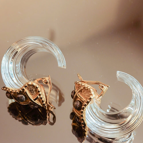 Nina Citrine Carved Lucite Earrings (Crystal/Gold)