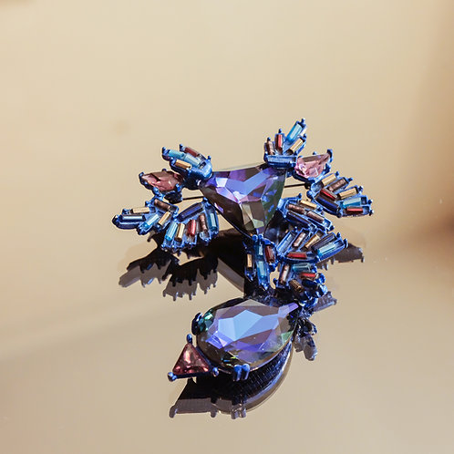 Christian Lacroix Crystal Brooch (Purple)