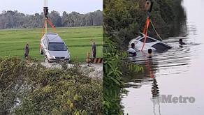 SUV meluncur ke dalam tali air bersama bayi