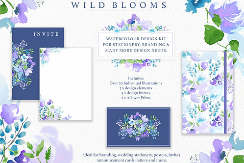 'Wild Blooms' Watercolour Design Pack - Downloadable