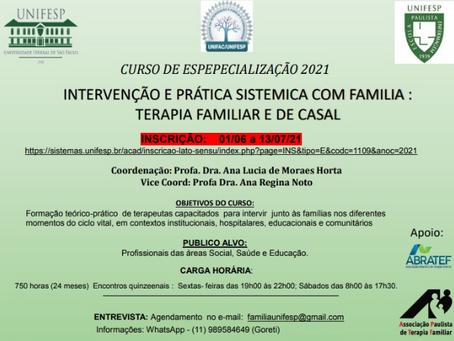 Curso de especialização em Intervenção e Prática Sistêmica com Família - Terapia Familiar e de Casal