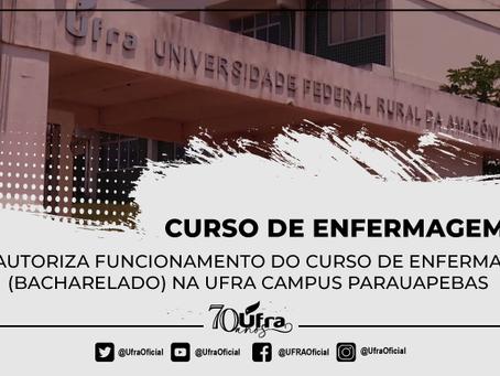 MEC autoriza funcionamento do curso de Enfermagem (bacharelado) na Ufra campus Parauapebas