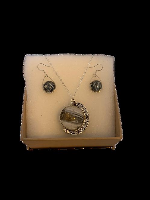 Moon Pendant - Teardrop Earring Set