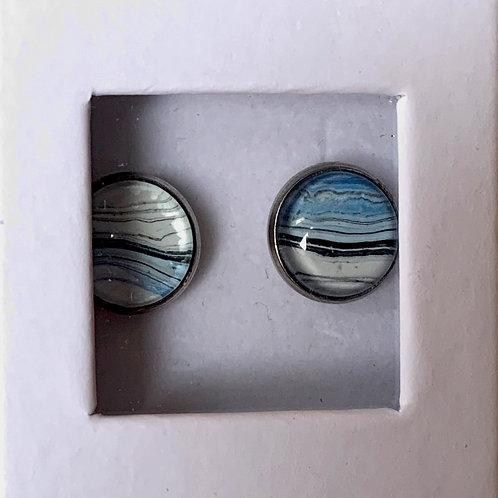 Stud Earrings, Silver