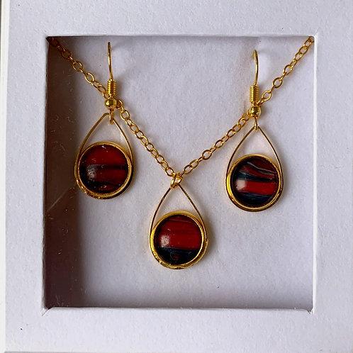 Teardrop Necklace/Earring Set, Gold