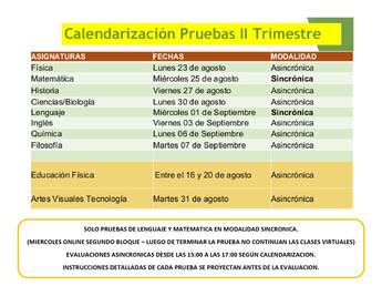 CALENDARIZACION II TRIMESTRE