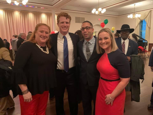 Laura on Inauguration Evening with Sean Rose, Molly McCullough, and Joe Kennedy