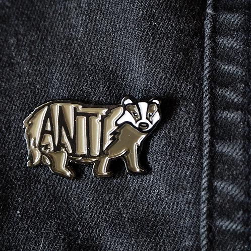ANTI badger pin badge