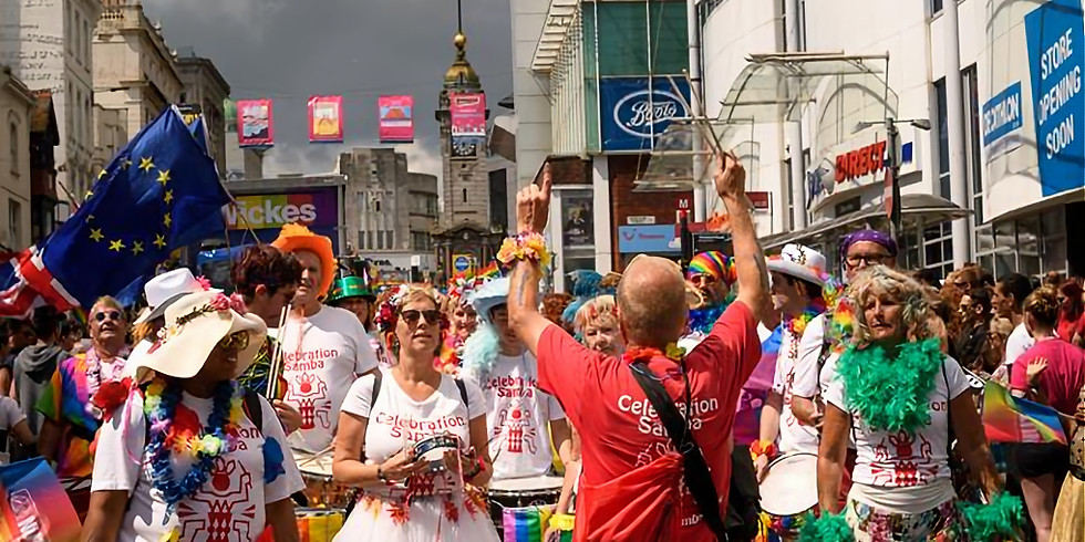 """Leading the Worthing """" pride """" procession"""