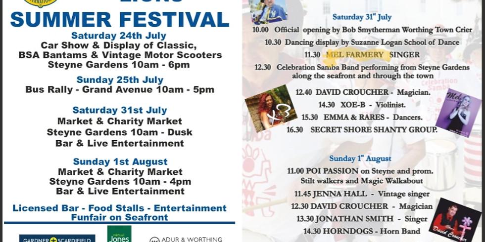 WORTHING LIONS SUMMER FESTIVAL- Hometown Gig 31/7/2021