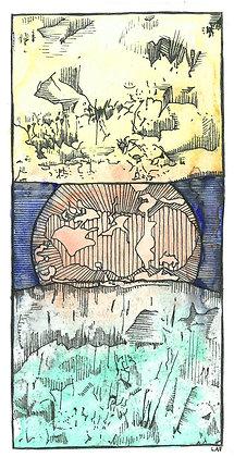 """Print de """"Atardece Venus entre Júpiter y Saturno"""""""