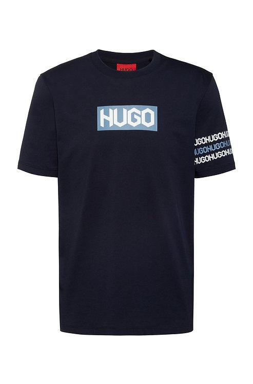 T-shirt en coton avec logos à imprimé pneu HUGO Modèle Dake - 50448862