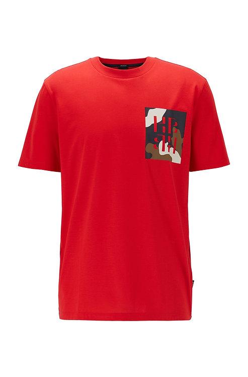 HUGO BOSS T-shirt Regular Fit en coton à imprimé monogramme Modèle Tames 12 - 50426066 613