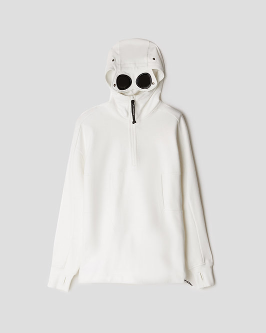 CP COMPANY Diagonal Raised Fleece Quarter Zip Goggle Hoodie 09CMSS032A005086W103