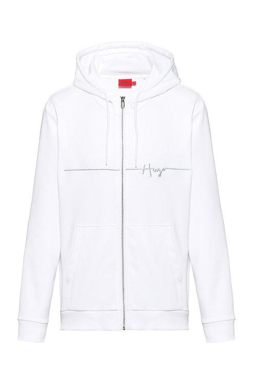 hugo Sweat à capuche zippé en coton biologique avec logo MODÈLE DAMPARI - 50457100manuscrit brodé